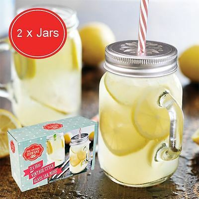 Pack of 2 Mason Jam Jars Drinking Jar with Handle and Straw
