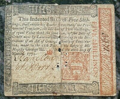 1771 Pennsylvania Five Shillings Note - Colonial Currency