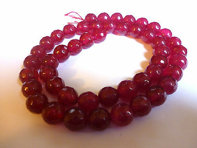 48 ~ Round ~ 8mm Pink Ruby Faceted Agate Gemstone Beads~Crafts~Jewellery Making
