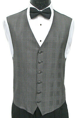 Chaps Ralph Lauren Black Silver Grey Fullback Tuxedo Vest and New Bow Tie Set
