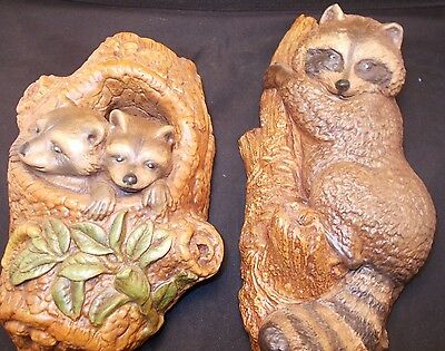 Raccoon and Babies Wall Hangers Chalk Ware 11 Inches and 9 Inch