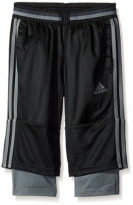 ADIDAS CONDIVO 16 3/4 Pants Youth LARGE 14-16 Black/Vista Soccer Training $40