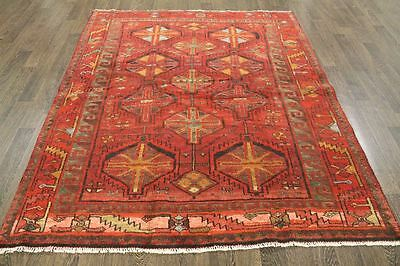 Persian Traditional Vintage Wool  5.4 X 6.6 Oriental Rug Handmade Carpet Rugs