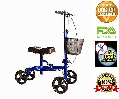 Knee Walker Scooter Steerable W/handle Brake and Basket W/Padded Leg Pad  Blue