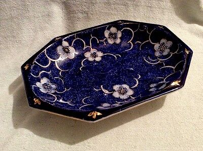 Vintage Blue Glazed Floral Hexagonal Dish By H.j. Wood, Staffordshire