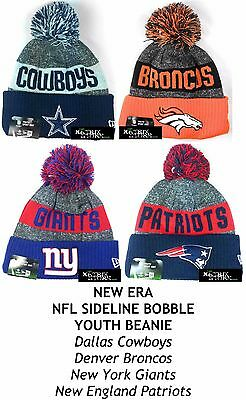 New Era Nfl Sideline Bobble Youth Beanie - Cowboys/broncos/giants/patriots
