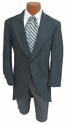 Grey Chaps Ralph Lauren Cutaway Morning Coat w/ Striped Pants Dickens Victorian