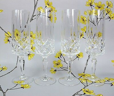 """Set of 4 quality cut crystal glass CHAMPAGNE PROSECCO FLUTES GLASSES. Four. 7.5"""""""
