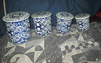 Vintage 4 Piece Delft Blue Canister Set  Made In Holland Very Good Condition