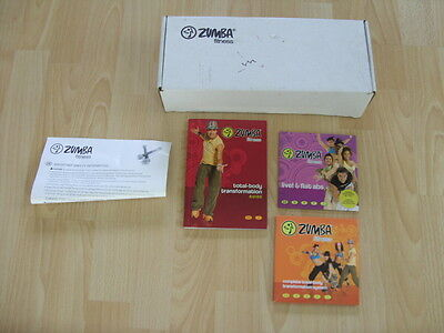 Zumba Fitness Workout Exercise DVD Set with 4 DVDs and 2 Toning Sticks Boxed