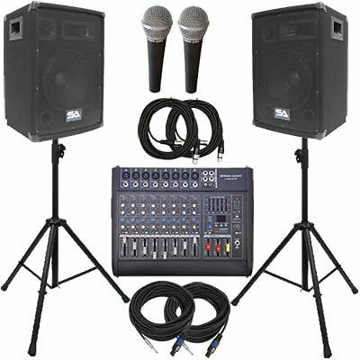 "Seismic Audio - Power Mixer, PA DJ 10"" Speakers, Stands & Cable Package - Active"