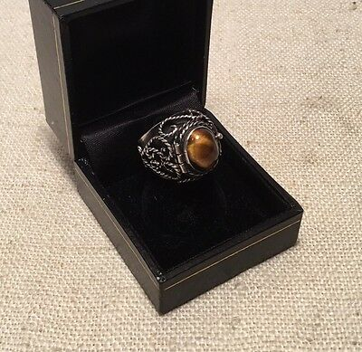 Los Ballesteros Vintage Mexican Sterling Silver Tiger's Eye Poison Ring