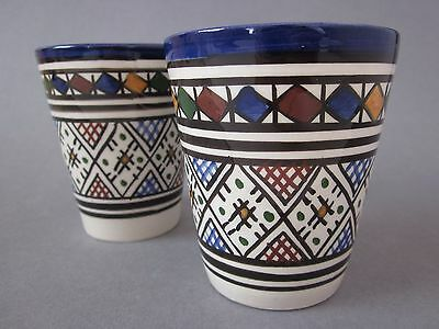 X2 Moroccan Handmade & Decorated Ceramic Pottery Beakers Cups