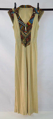 Vtg 70s Retro Tan Soft Faux Suede Southwestern Boho V Neck Zip Jumpsuit Pants XS