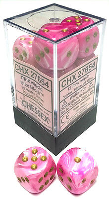 Chessex Dice: Vortex 16mm D6 Pink/Gold (12) CHX 27654