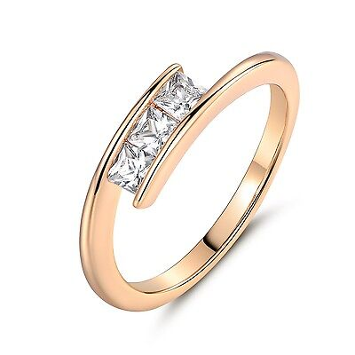 18K Gold Filled 3mm Princess Cut White Topaz Three-Stone Ring Size 5、6、7、8、9