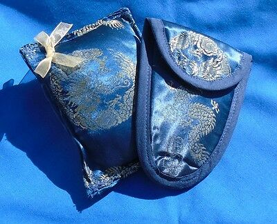 Scissor Case & Pincushion Set  Vintage Pure Chinese Silk.  Royal Blue With Gold