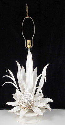 "Mid Century White Metal Flower Lamp ~ 37"" Tall x 17"""