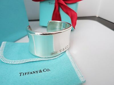 Tiffany & Co. Sterling Silver SMALL 1837 Wide Bangle Cuff Bracelet w/Packaging