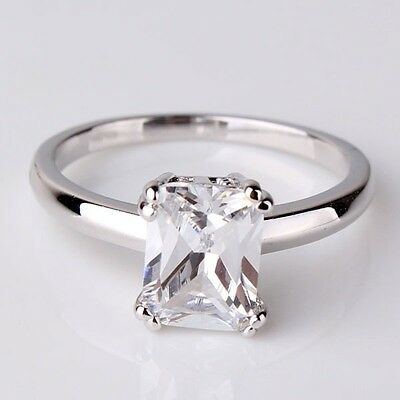 Solitaire Style Radiant Cut White Topaz 18K White Gold Filled Ring Size 5-9