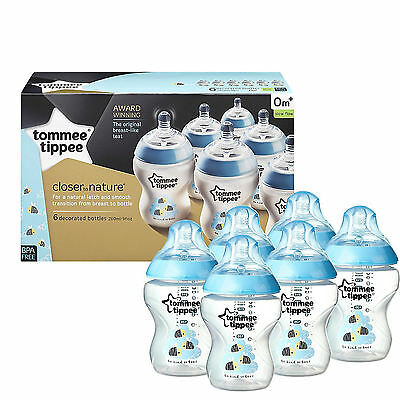 Tommee Tippee 6x 260ml Decorated Feeding Bottles Nice Maternity Gift BOY