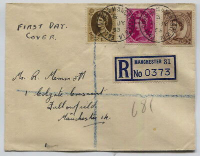 GB 1943 Wilding 5d, 8d & 1/- On Registered First Day Cover SG #522, 525, 529 £45