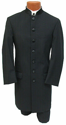 "LONG Black ""Apollo"" Mandarin Nehru Collar Tuxedo Frock Coat Steampunk Costume"