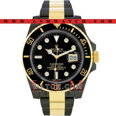 Rolex Gold & Steel PVD/DLC SUBMARINER BLACK CERAMIC DIAMOND Watch - NEW 116613