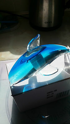 Blue Glass Dolphin Ornament