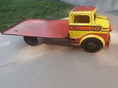 """Vintage Marx 1950's Pressed Steel Flat Bed Toy Truck Usa """"rare"""""""