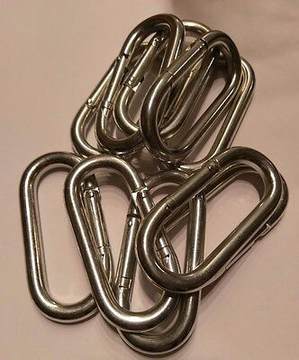 "Lot of 10 Oval Spring Snap Link 3/8"" Steel-Zinc Plated Hook Carabiner 4"" x 2"""