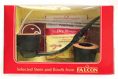 Falcon Ebony pipe set with bent stem + Extra bowl - new UNSMOKED model BY-02