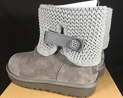 0d0edf87357 UGG AUSTRALIA WOMEN'S Shaina Grey Gray Knit Boots NEW 1012534 Cuff Ankle  Bootie