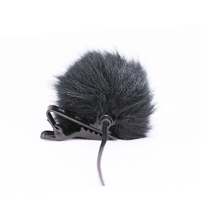 Black Fur Windscreen Windshield Wind Muff for Lapel Lavalier Microphone Mic SEAU