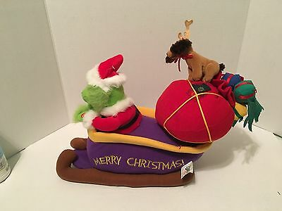 Dr Seuss How The Grinch Stole Christmas Animated/Musical Plush Sleigh Sled w/Max