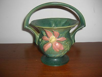 """Vintage Roseville Pottery Green Clematis 8"""" Basket 389 Repaired Handle"""