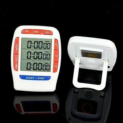 3 Channel Electronic Digital LCD Kitchen Cooking Timer CountDown 99 Hours