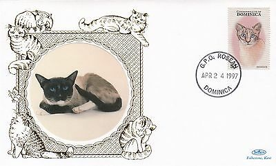 (81129) Dominica Benham FDC Cats 24 April 1997