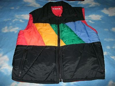 Women's Vintage Nelson Hall Outerwear Vest Black w/ Rainbow Colors Sz Medium
