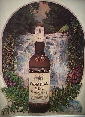 Vintage 1977 Canadian Mist Whisky Iron-On Transfer Alcohol Canada Waterfall RARE