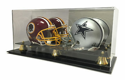 New Double Football Mini Helmet Display Case with Mirror Back and Black Base