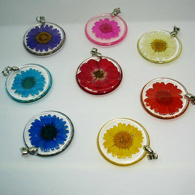 Fashion Transparent Resin Ball Glass Dried Flower Necklace Pendant Jewelry Gift