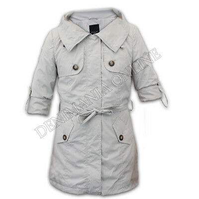 ladies mac trench coat womens summer lined belt rolled up long sleeved jacket