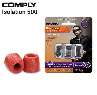 Comply Foam T-500 Isolation 3 Pairs In-Ear Earphone Tips Medium Red SI
