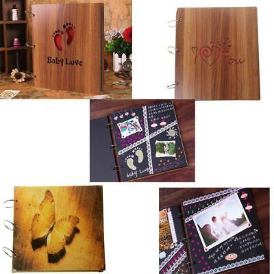 Retro Scrapbook DIY Photo Albums Wooden Picture Photograph Album