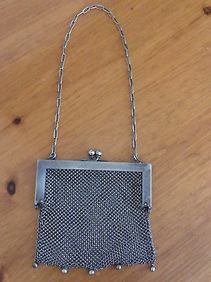 "Antique 1909 GERMAN SILVER hanging purse Marked ""GER SILVER"" 131.5 gr"