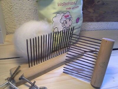 Wollkamm Wollkaemme turned Carding brush Hand card Table station