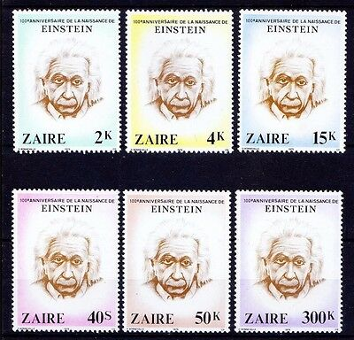 Zaire 1980 Albert Einstein Nobel Prize Scientists Physics Science People 6v MNH