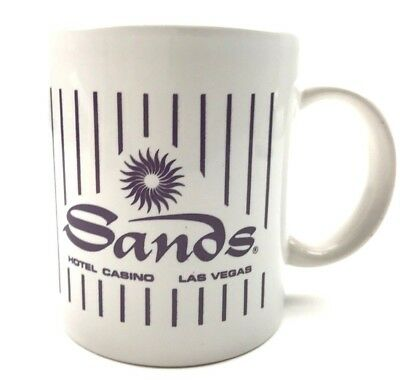 Vintage Las Vegas Sands Hotel Casino Souvenir Coffee Mug Purple Ink Ribbed Sides