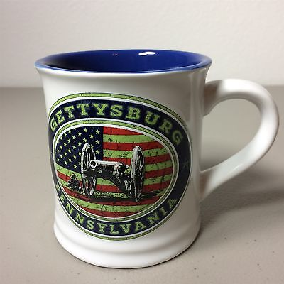 Gettysburg PA Souvenir Collectible Mug Civil War Cannon American Flag Awesome!